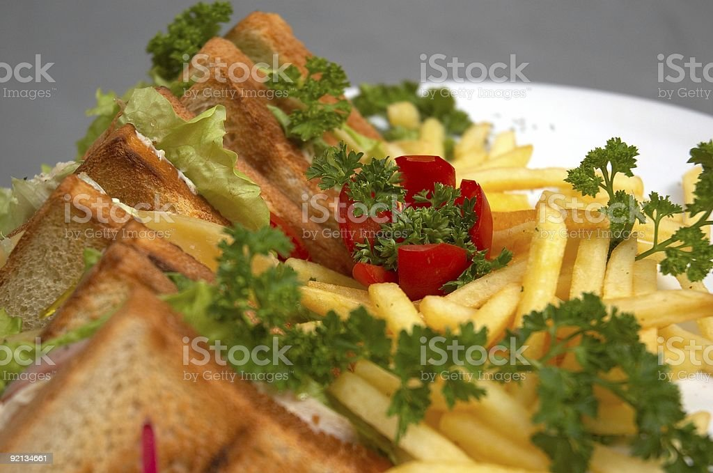 club sandwich with french fries royalty-free stock photo