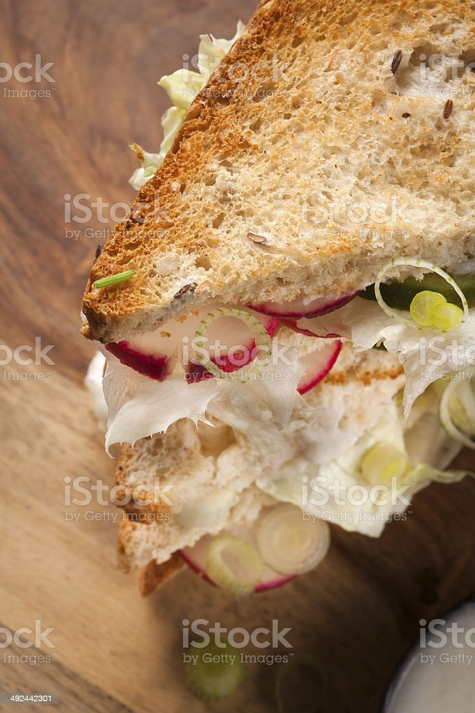 Club Sandwich with radish, lettuce, cucumber stock photo