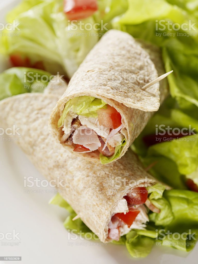 Club Sandwich Wrap with Garden Salad stock photo