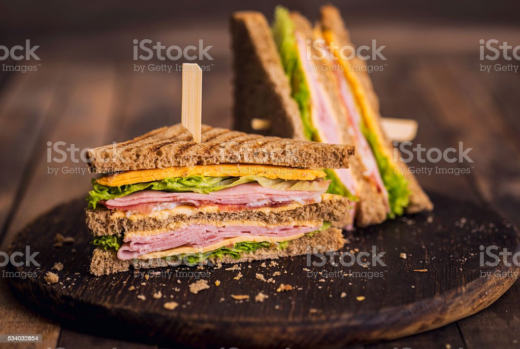 Club sandwiches on the table stock photo