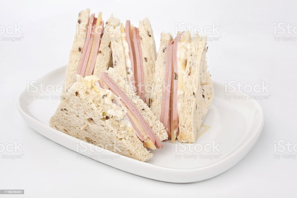 club sandwiches with ham and cheese stock photo