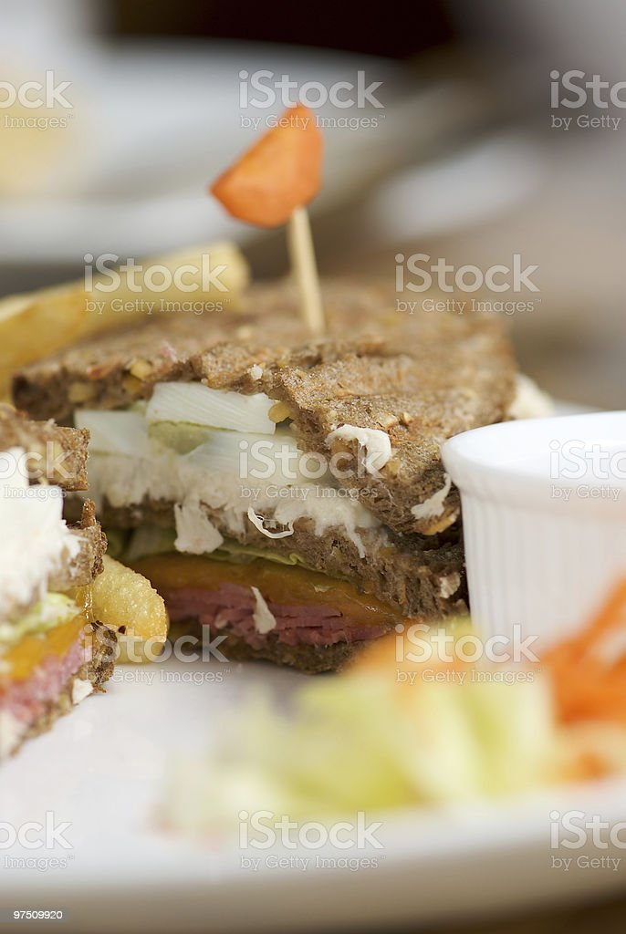 Club sandwitch in dark rye bread royalty-free stock photo