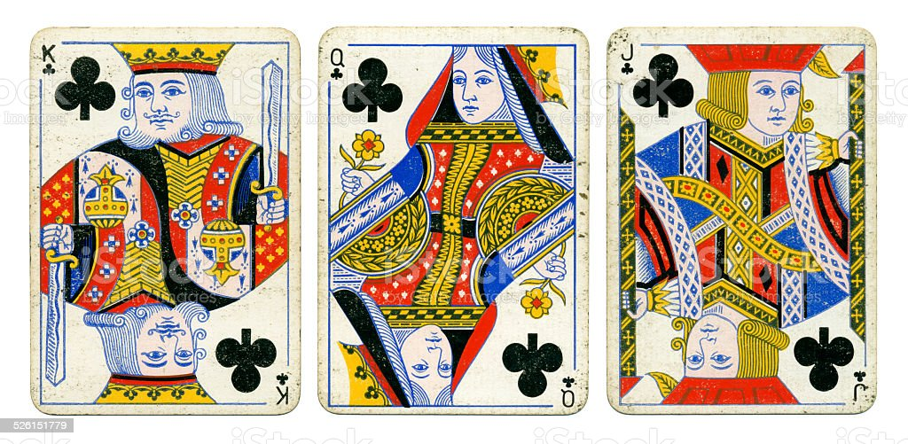Clubs court cards Victoria Diamond Jubilee playing cards 1897 stock photo