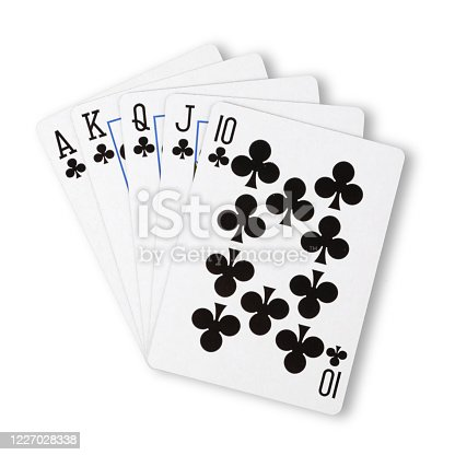 A Clubs royal flush flat on white winning hand business concept