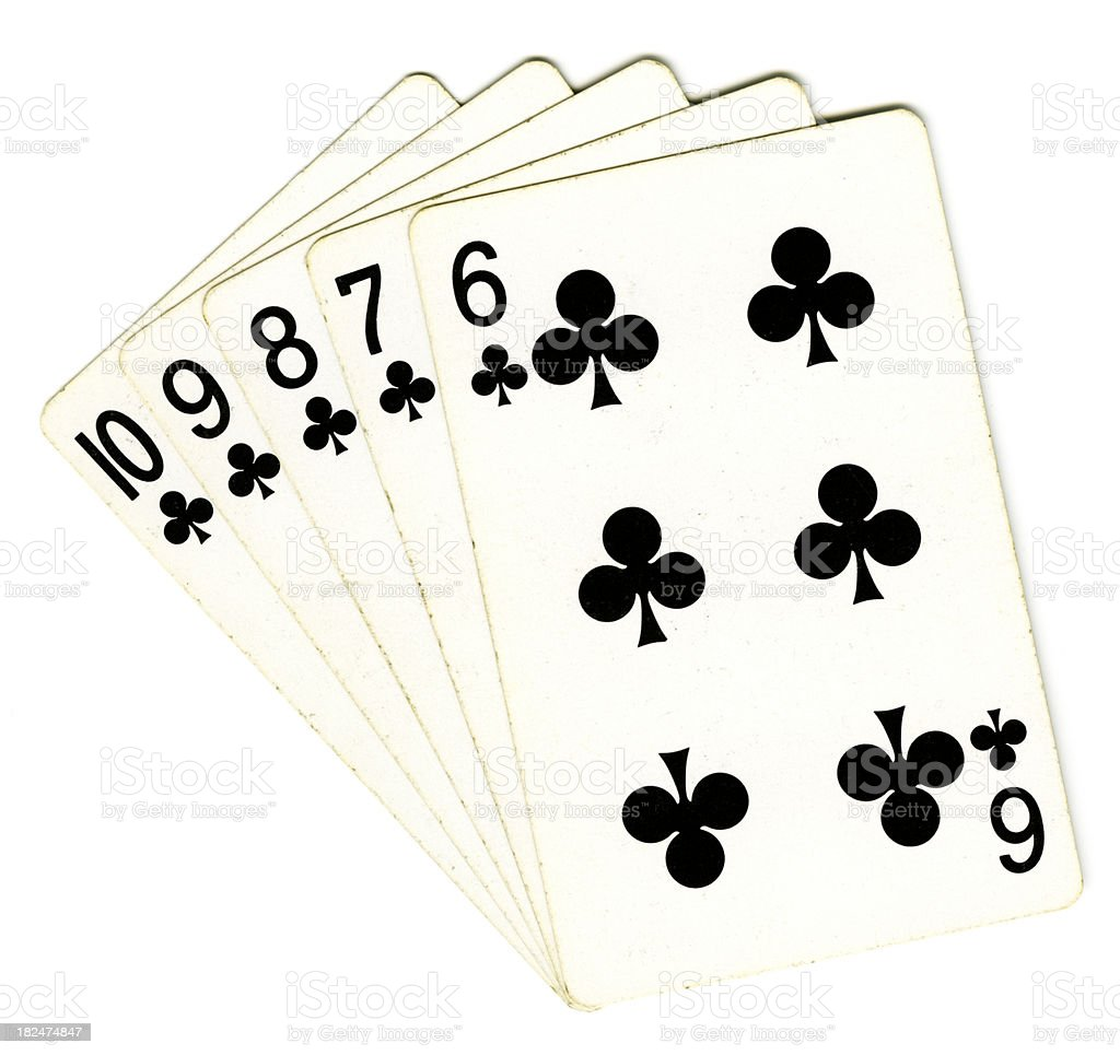 Clubs Straight Flush royalty-free stock photo