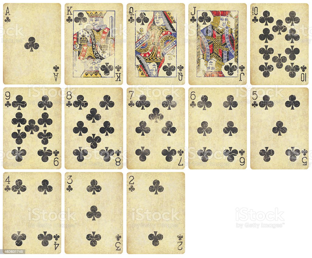 Clubs Suit of Vintage Playing Cards stock photo