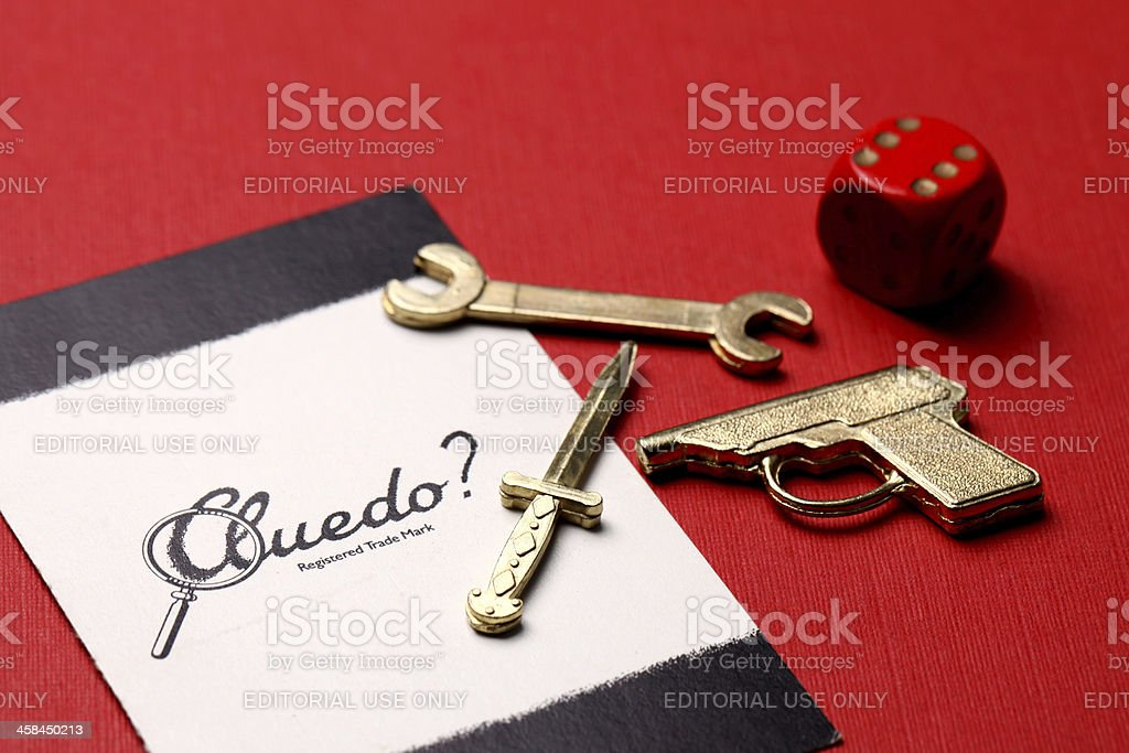 Cluedo card and weapons royalty-free stock photo