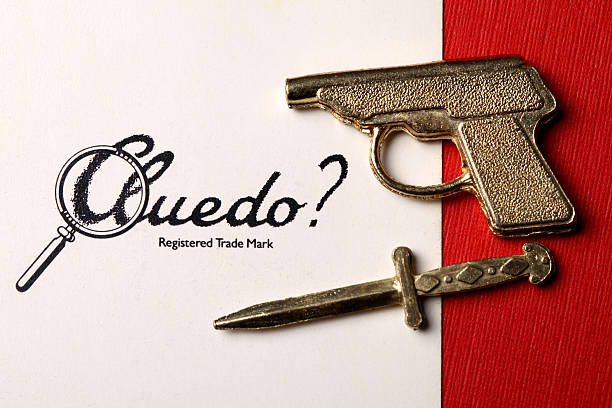 cluedo card and weapons - murder mystery stock photos and pictures
