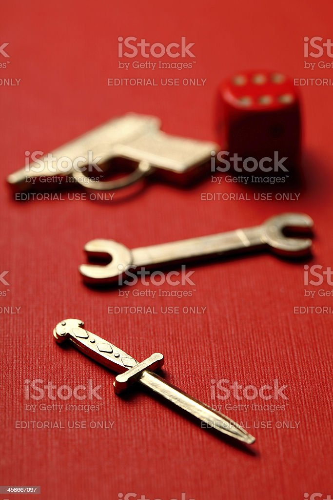 Cluedo weapons and dice royalty-free stock photo