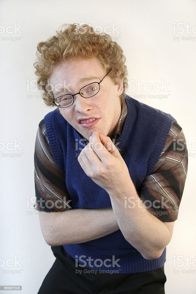 Clueless nerd stock photo