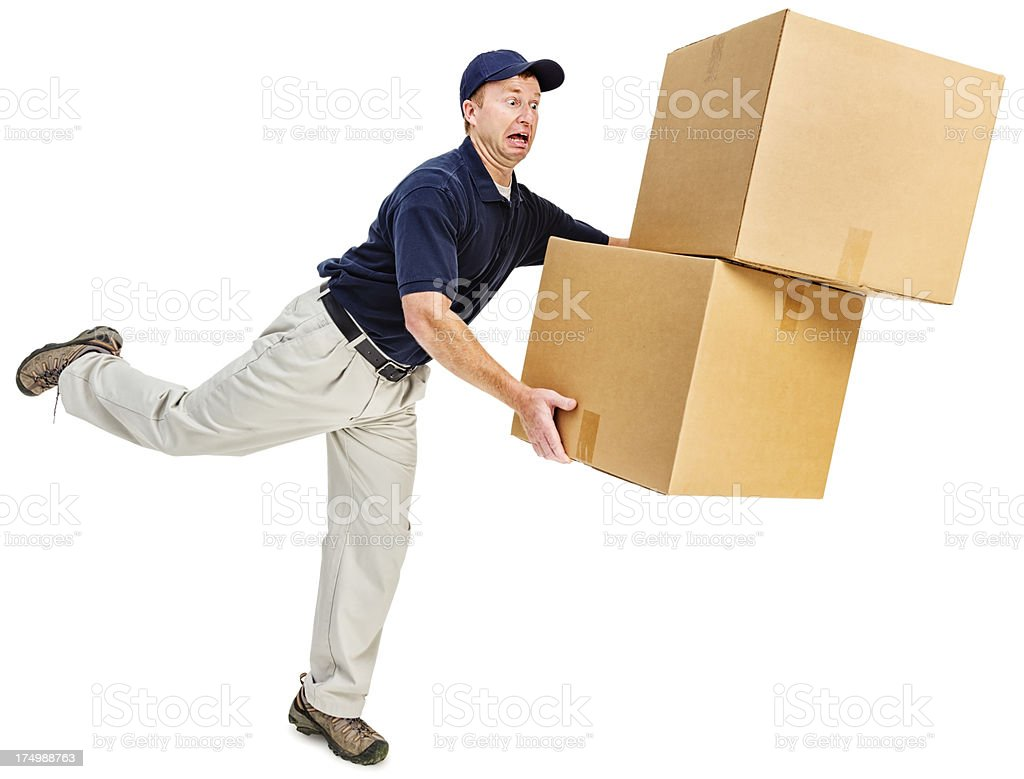 Clumsy Delivery Man stock photo