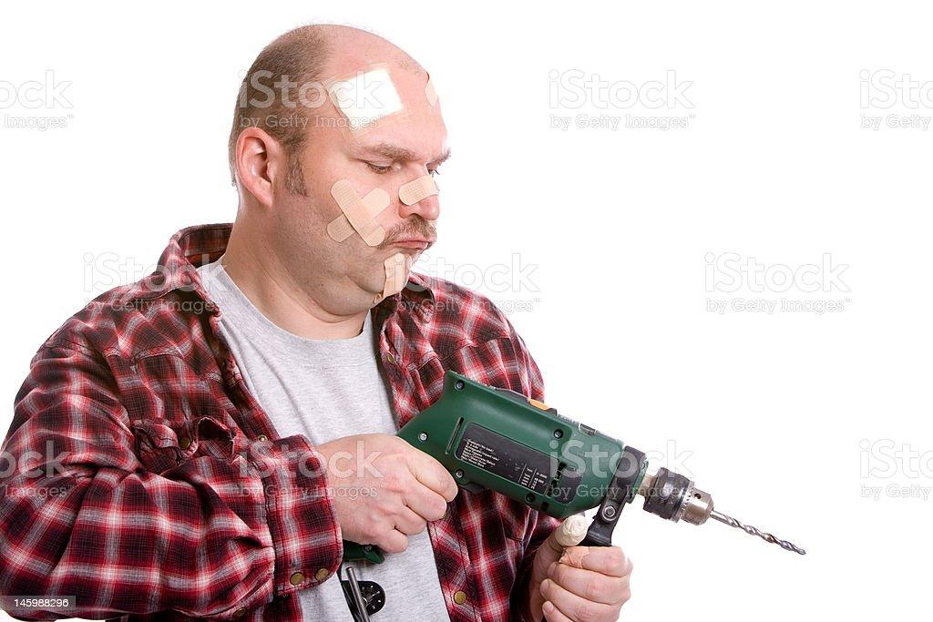Clumsy handyman royalty-free stock photo