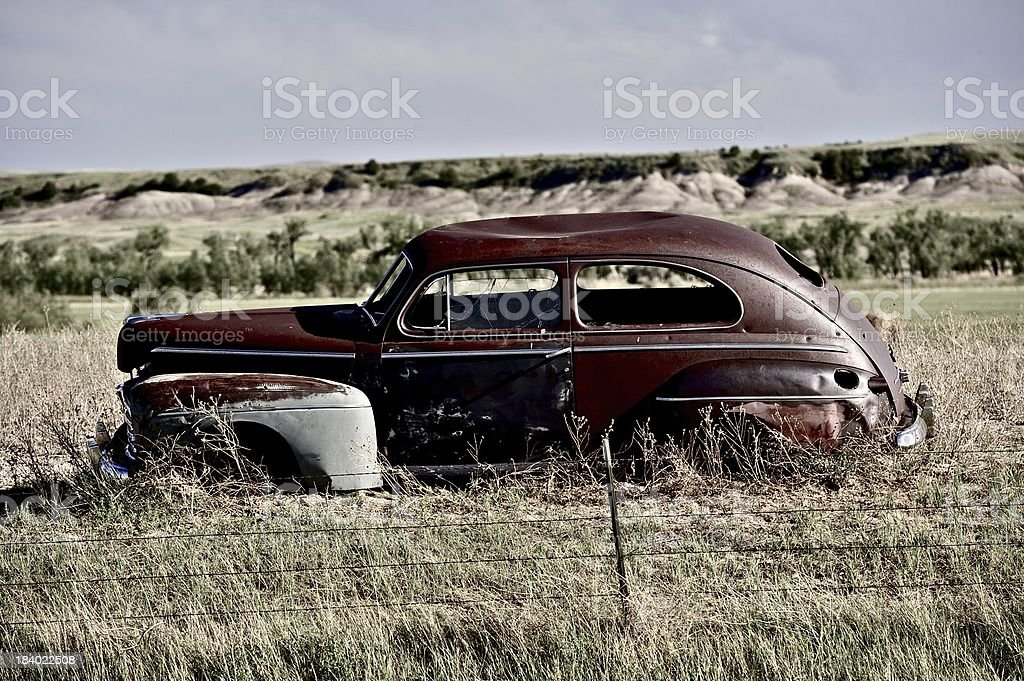 Clunker on Prairie stock photo
