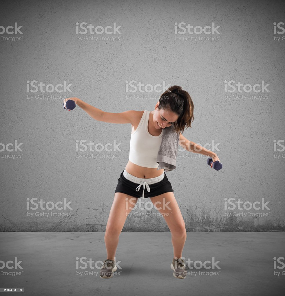 Clunky workout stock photo