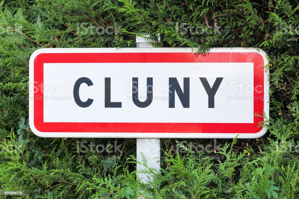 Cluny city road sign in Burgundy, France stock photo
