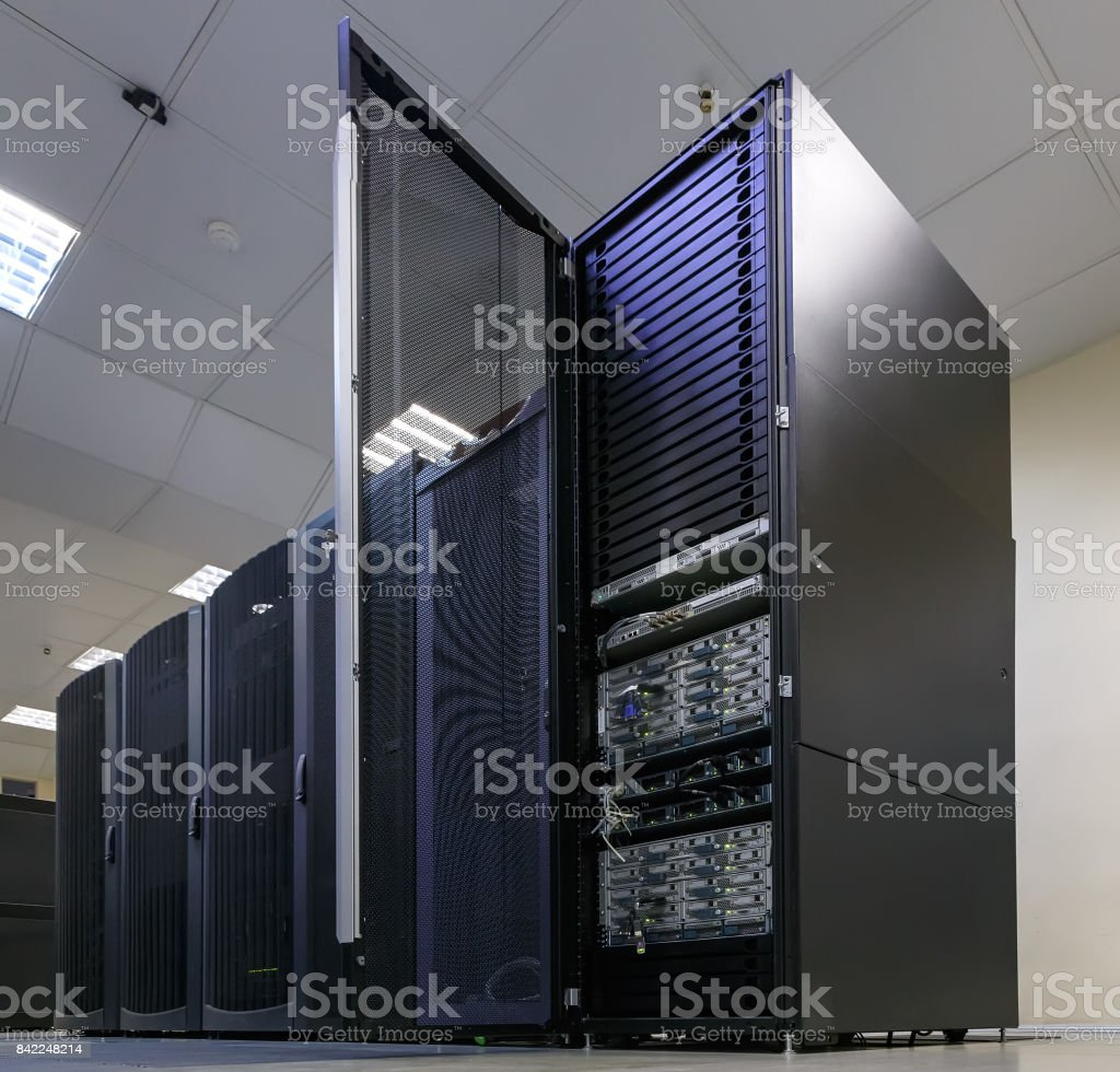 cluster disk storage with the door open in the data center. Big data stock photo