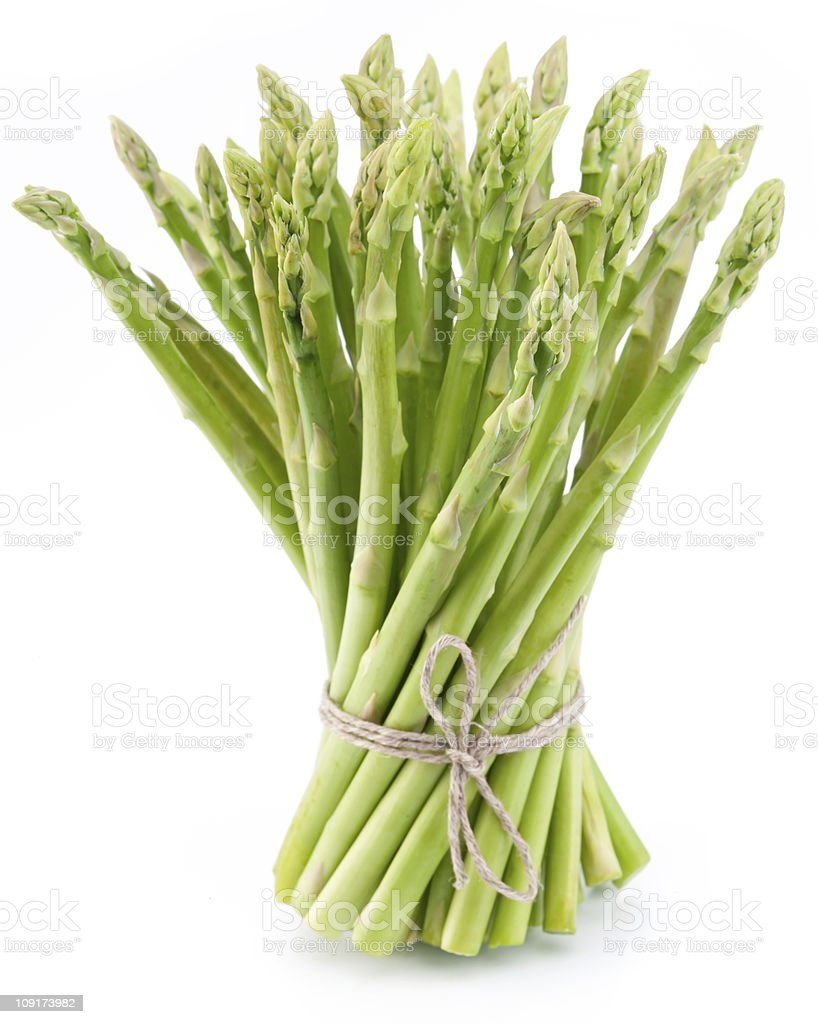 Cluster of cut asparagus tied with twine stock photo