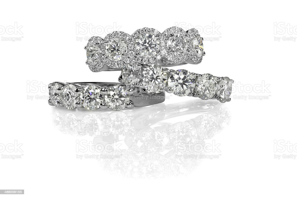 Cluster stack of diamond wedding engagment rings stock photo