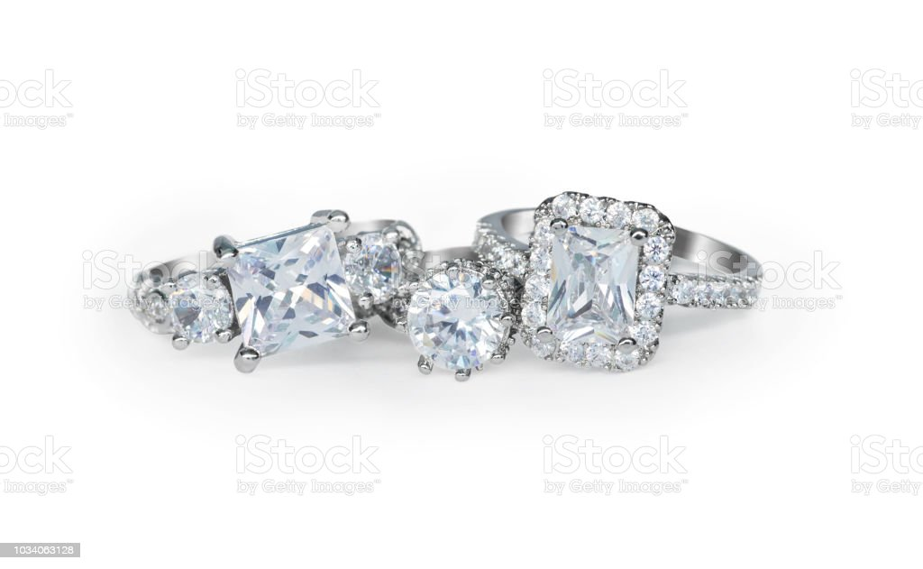 Cluster Stack Of Multiple Diamond Wedding Engagement Rings In A