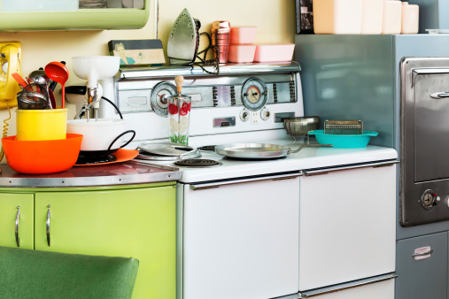 Cluttered 1950s Era Kitchen