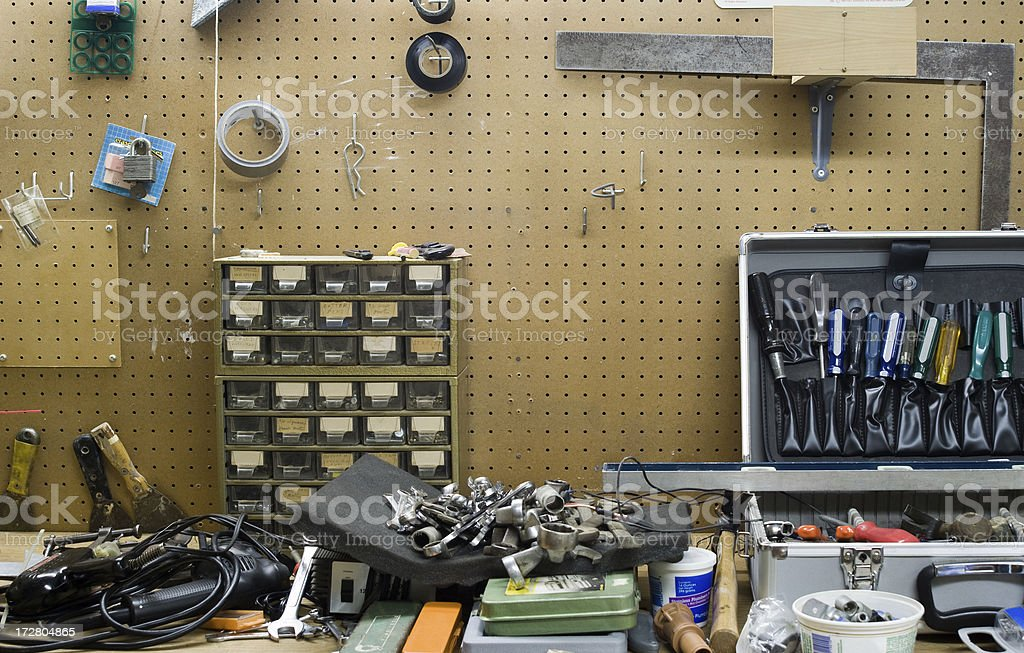 cluttered workbench royalty-free stock photo