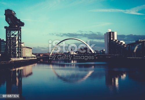 View of the Clyde Arc Bridge and Finnieston Crane, on the River Clyde, Glasgow, Scotland