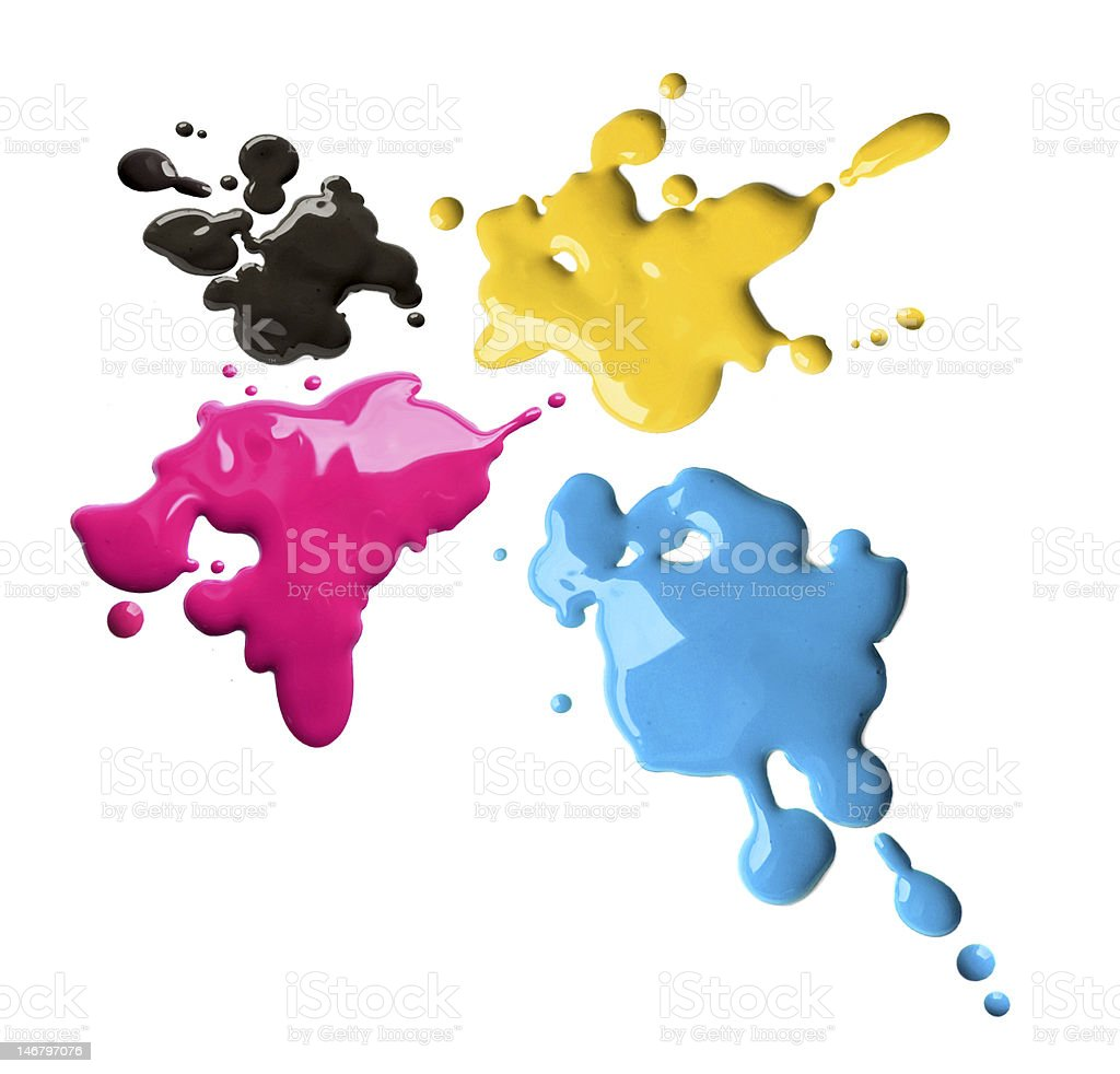 Cmyk color splashes royalty-free stock photo