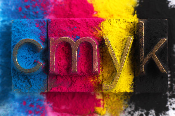 cmyk - letterpress stock photos and pictures