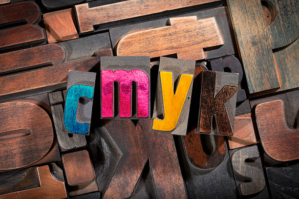 cmyk written with antique letterpress type cmyk written with colored vintage letterpress printing blocks on random letters background cmyk stock pictures, royalty-free photos & images