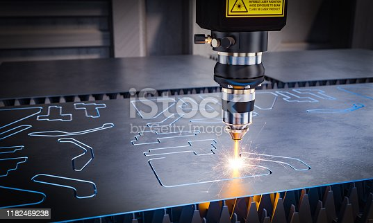 cnc laser machinery for metal cutting. 3d image render. Concept of automation in heavy industry.