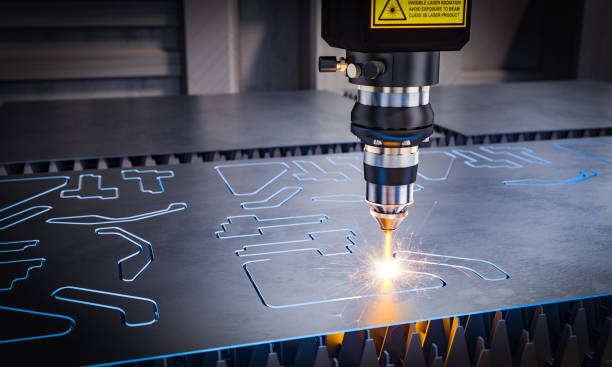cnc laser machinery for metal cutting. cnc laser machinery for metal cutting. 3d image render. Concept of automation in heavy industry. laser stock pictures, royalty-free photos & images