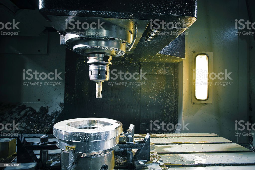cnc lathe workspace stock photo