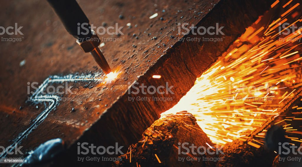 Cnc plasma cutting machine. stock photo