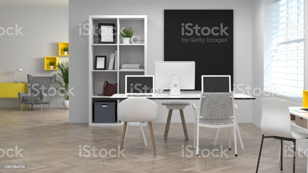 Co Trabajo Ambientes Decoración Interior Casa Modelo Oficina ...