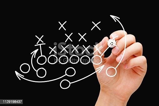 istock Coach Drawing American Football Game Strategy 1129198437