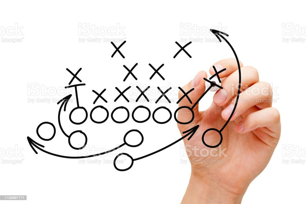 Coach Drawing American Football Playbook Strategy stock photo