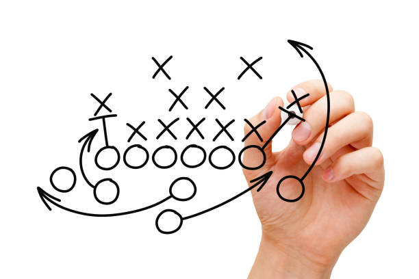 entraîneur dessin american football playbook stratégie - coach sportif photos et images de collection