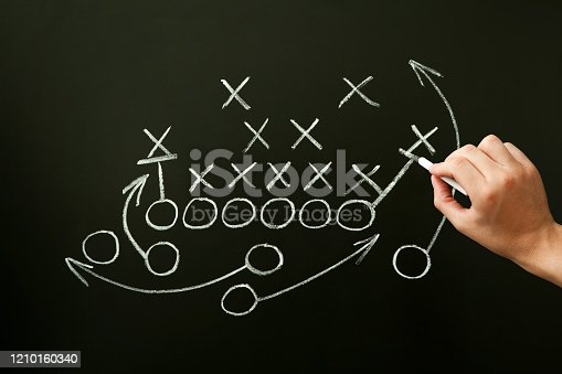 istock Coach Drawing American Football Playbook Tactics 1210160340