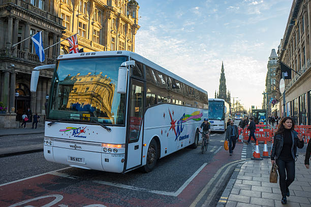 Coach on Princes Street, Edinburgh stock photo