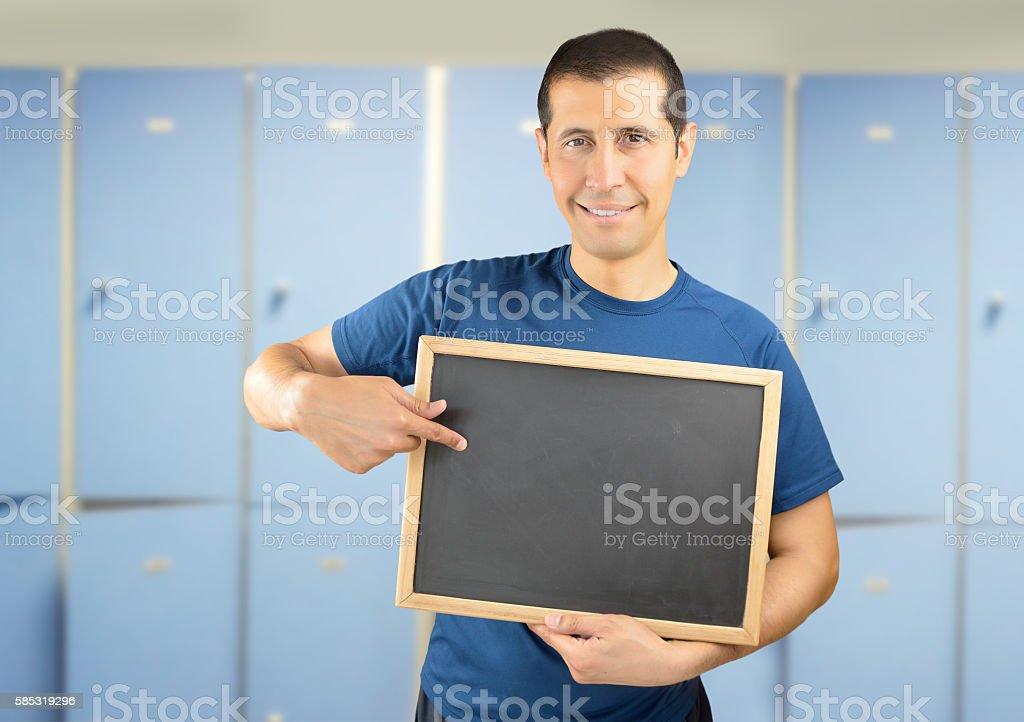 coach showing a blackboard stock photo