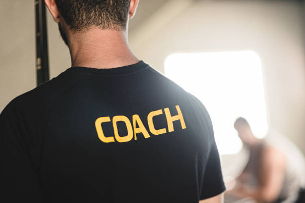 Coach T-shit in Gym stock photo