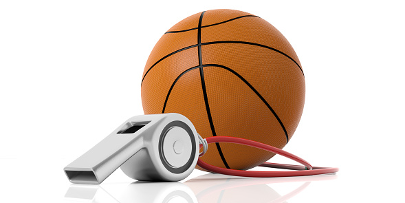 istock Coach whistle and basketball ball isolated on white background. 3d illustration 1053136678