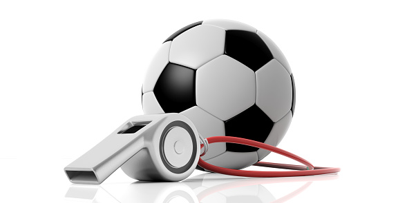 istock Coach whistle and soccer football ball isolated on white background. 3d illustration 1053136706