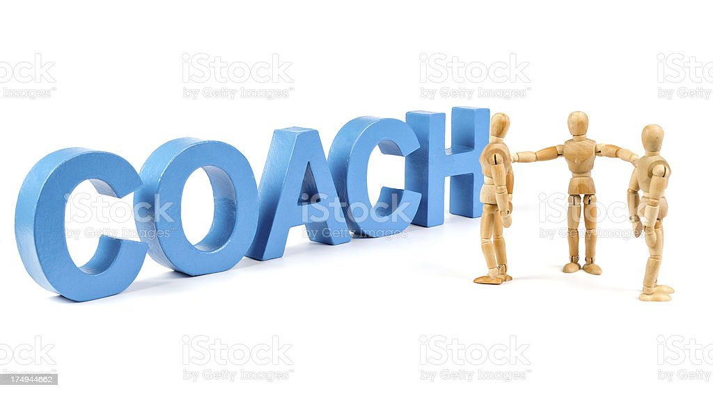 Coach - Wooden Mannequin demonstrating this word stock photo
