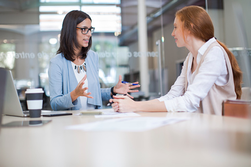 Coaching And Advise Two Business Woman Working Together Stock Photo - Download Image Now