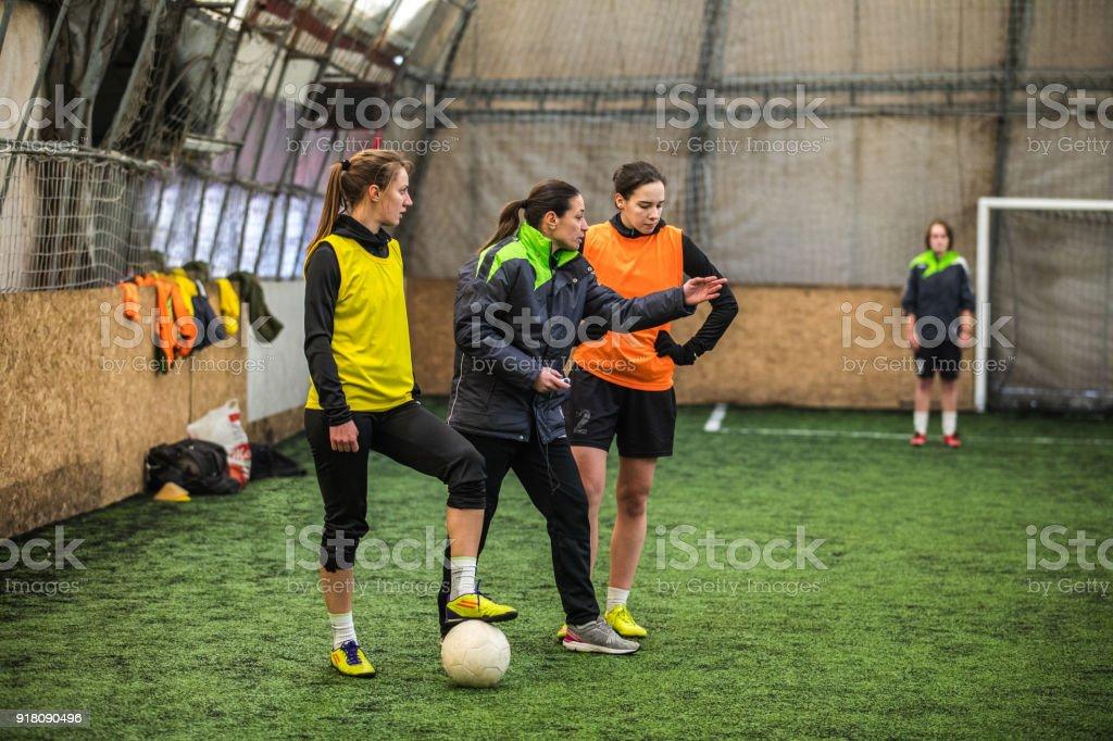 Coaching soccer stock photo