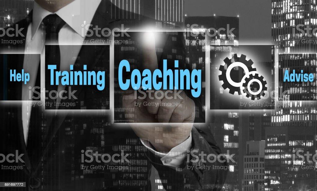 Coaching-Fenster-Konzept zeigt Geschäftsmann – Foto