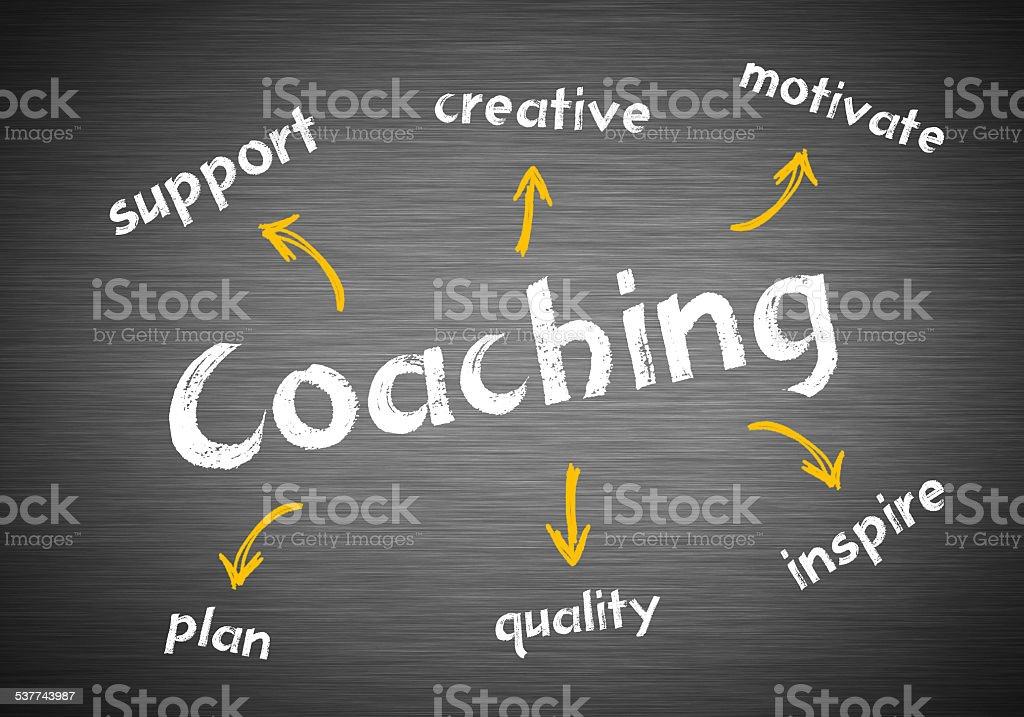 Coaching wirtten blackboard concept stock photo