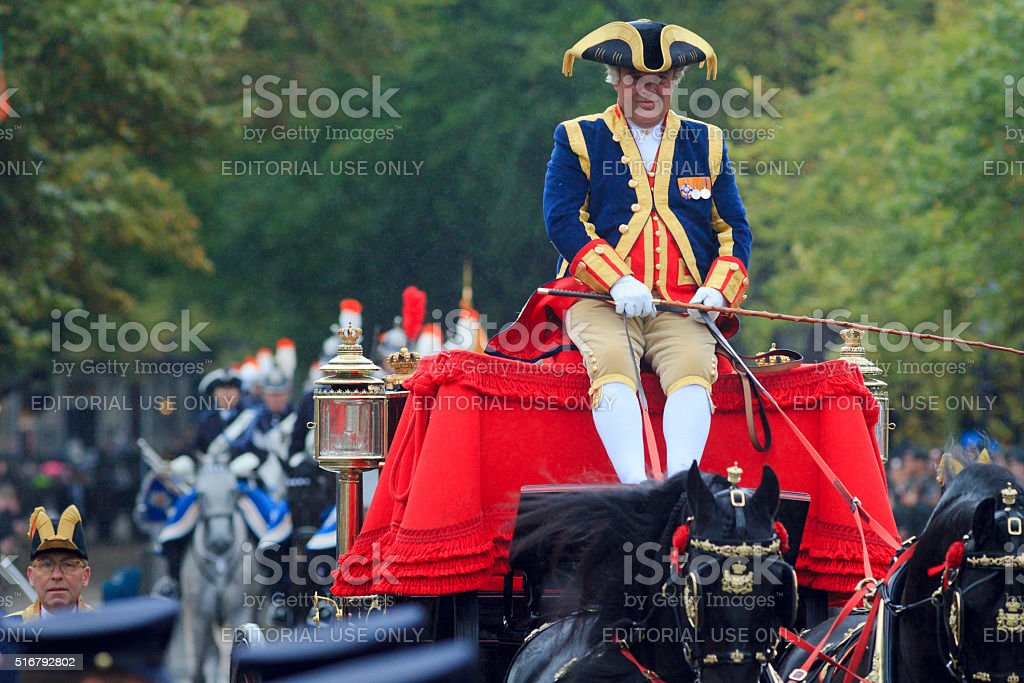 coachman on Lange Voorhout during Prinsjesdag in The Hague stock photo