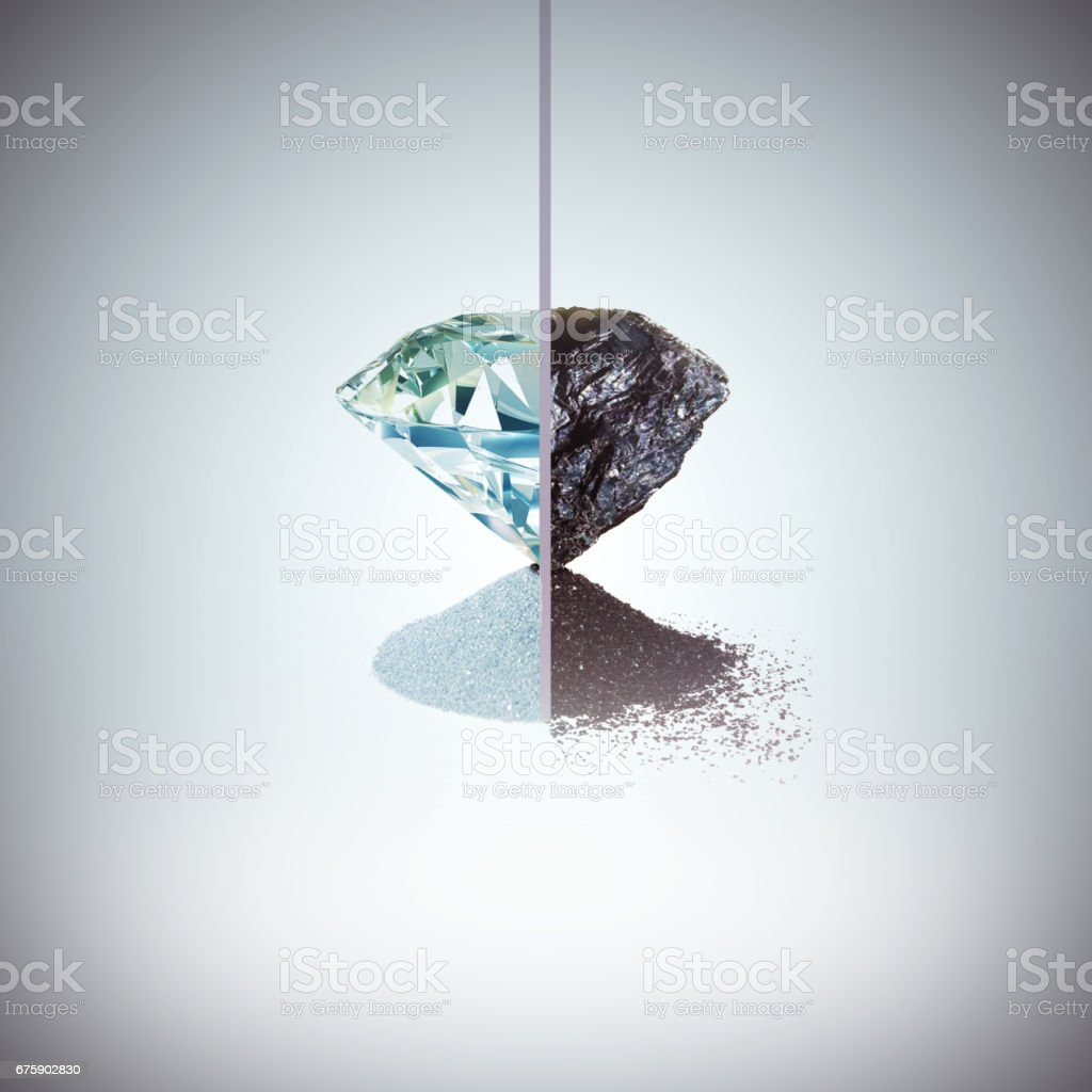 Coal and diamond metamorphosis stock photo